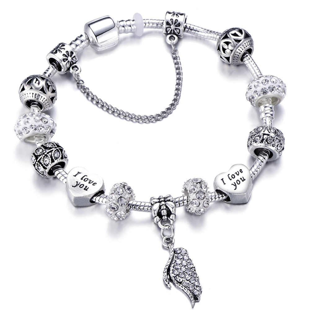 a6676dab5 Detail Feedback Questions about New Design Angel Wings Silver Charm ...