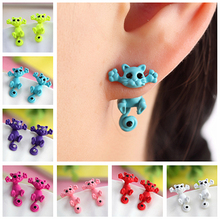2015 New Multiple Color Fashion Hot Cute Kitten Ear Jewelry Fine Cat Stud Earrings For Women Gifts EH0007-B