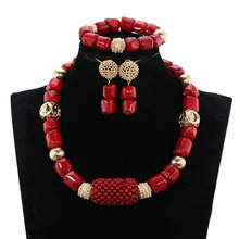 Simple Original Coral Beads Jewelry Set Natural Coral Necklace Earrings Bracelet Set Wine Red Bridal Beads Jewelry New CNR688