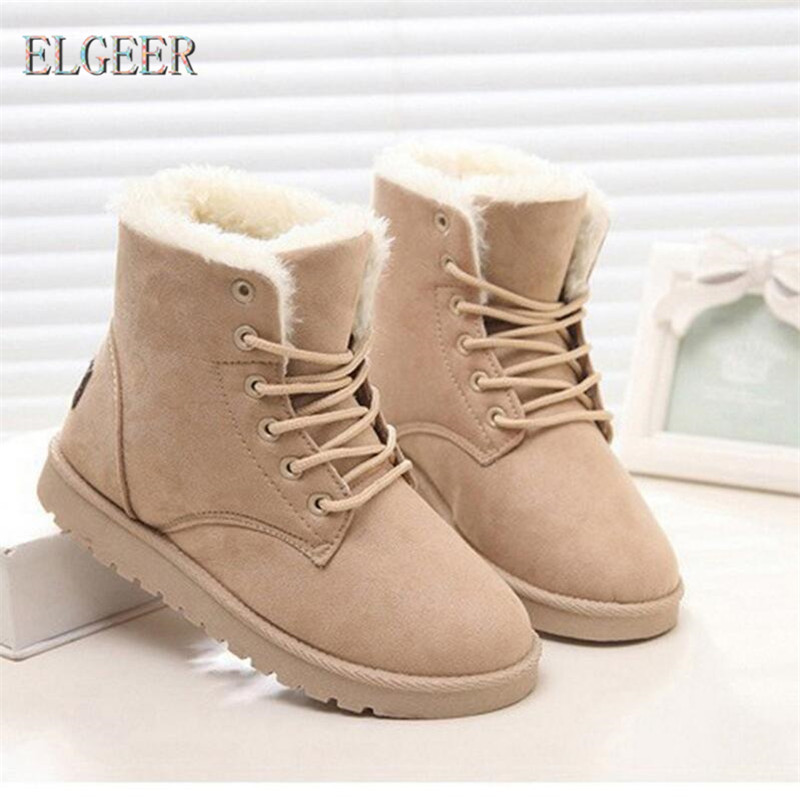 Classic Women Winter Boots Suede Ankle Snow Boots Female Warm Fur Plush Insole High Quality Lace-Up  Snow Boots