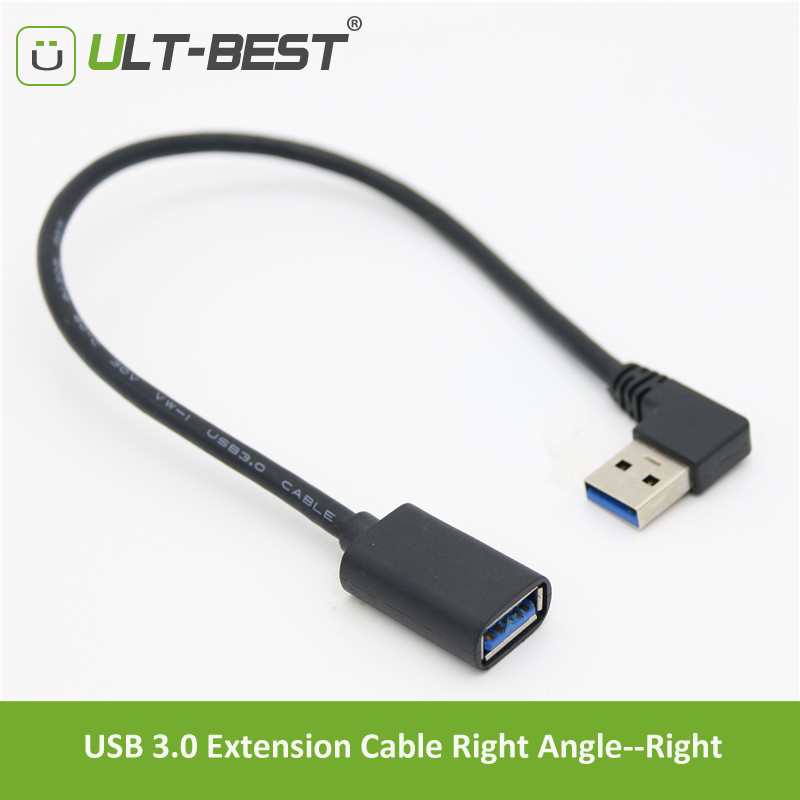 ULT-Best USB 2.0 3.0 Extension Cable Right Angle 90 Degree Male To Female Super Speed USB Data Sync Charging Cables Cabo