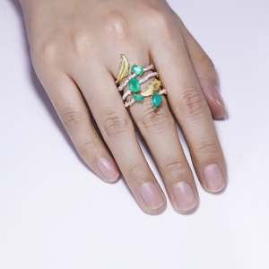 Image 2 - باليه من GEMS خاتم كلاسيكي من الفضة الإسترلينية عيار 925 على الطراز القوطي 2.26Ct خواتم للأصابع من الأحجار الكريمة بالعقيق الأخضر الطبيعي للنساء مجوهرات راقية