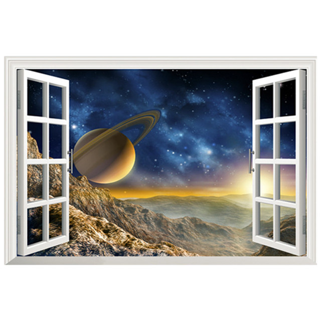 Starry Fake D Window Vinyl Sticker Galaxy Moon Stars Wall Decals - 3d window wall decals