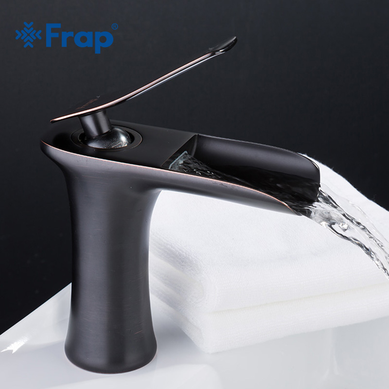Frap brass Antique black Waterfall Bathroom basin Faucet Bath sink Mixer Tap with Hot and Cold Water Mixe faucets F1052-51Frap brass Antique black Waterfall Bathroom basin Faucet Bath sink Mixer Tap with Hot and Cold Water Mixe faucets F1052-51