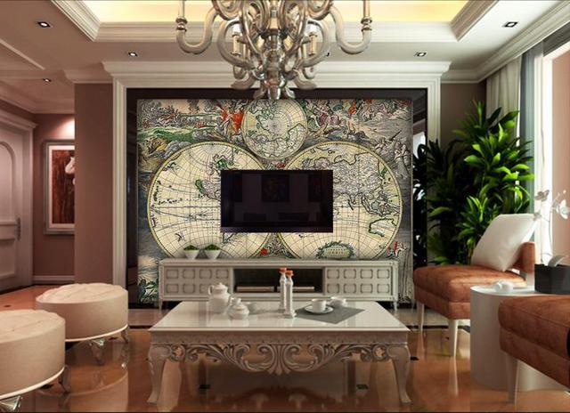 3d Wandbilder Wallpaper älteren karte vlies tapete für Wohnzimmer ...