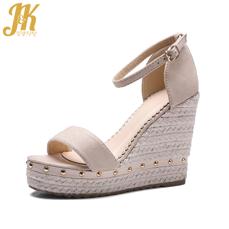 JK Size 34-39 Hot Straw Weave Wedges High Sandals Women Ankle Strap Summer Shoes Woman Platform Open toe Nubuck Rivet Sandals ribetrini women hot sale cow leather low heel wedges summer casual shoes woman ankle strap open toe platform sandals size 34 39