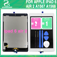 New For iPad 6 LCD Touch Screen For ipad air 2 6th LCD Display Digitizer Touch Sensor Glass+Flex Cable Back Sticker Adhesive