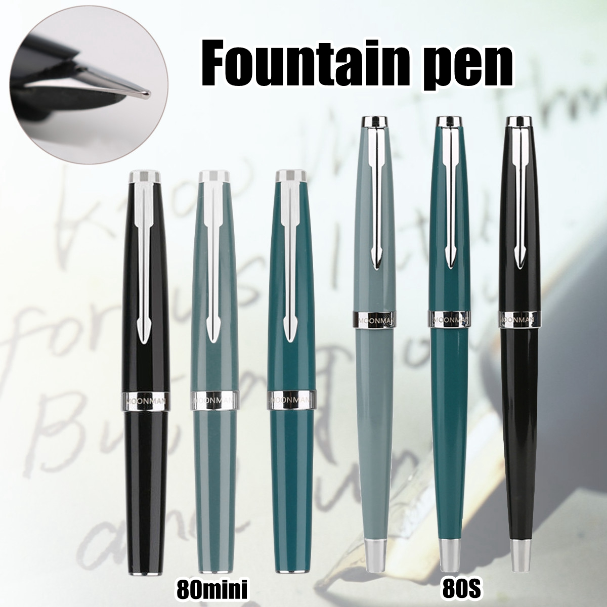 MOONMAN 80s 80 MINI P ocket Fountain Pen Fine Nib Find Classic Series Pen Fountain PenMOONMAN 80s 80 MINI P ocket Fountain Pen Fine Nib Find Classic Series Pen Fountain Pen