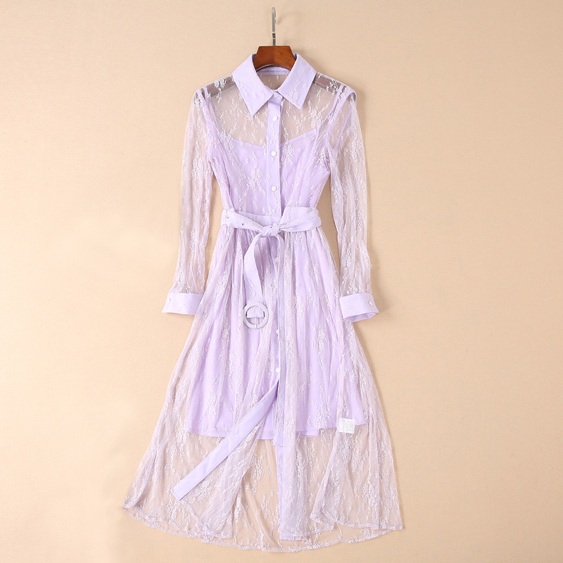Solid Color Violet / Black Lace See Through Dress Shirt