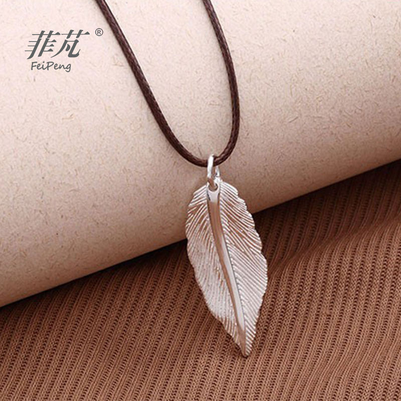 New Hot 925 Sterling Silver Feather Pendant Necklace Trendy Charm Jewelry for Men