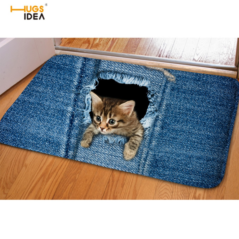 HUGSIDEA Jeans Design Varmt Hjem Teppe Teppe For Stue Baderom 3D Søt Denim Animal Cat Dog Inngang Doormat Tapis Mats