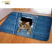 HUGSIDEA Jeans Design Warm Home Carpet Rug For Living Room Bathroom 3D Cute Denim Animal Cat Dog Entrance Doormat Tapis Mats