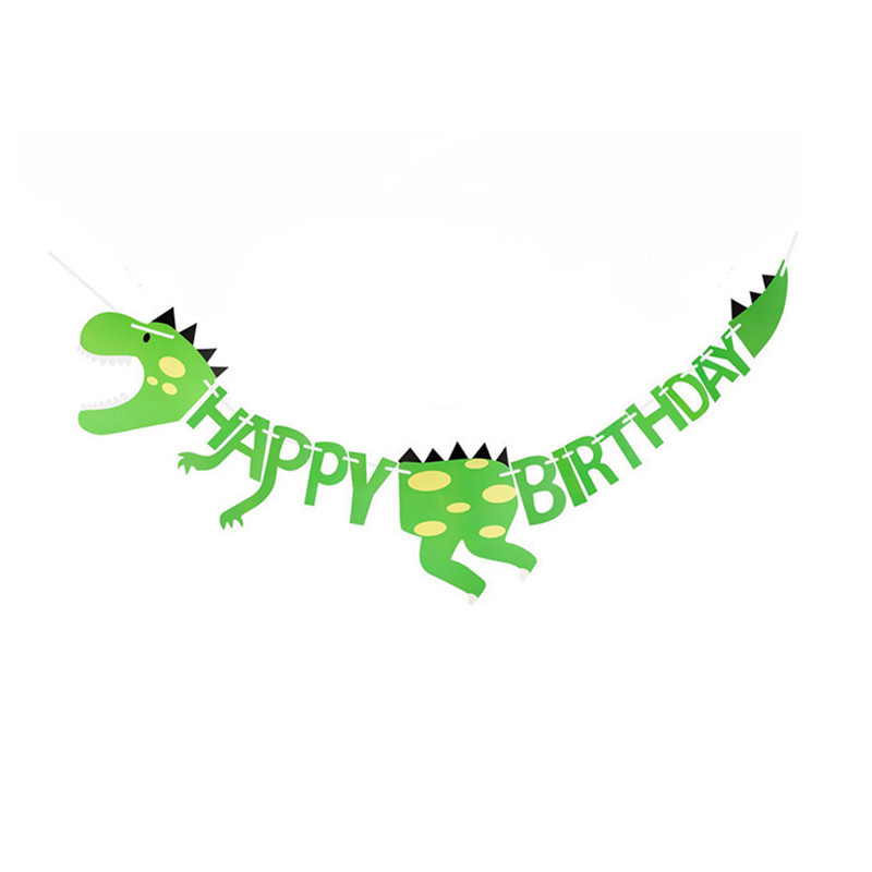 15Pcs Balloons Sets Kids Birthday Party Decorations 1pc Dinosaur Banner Flag