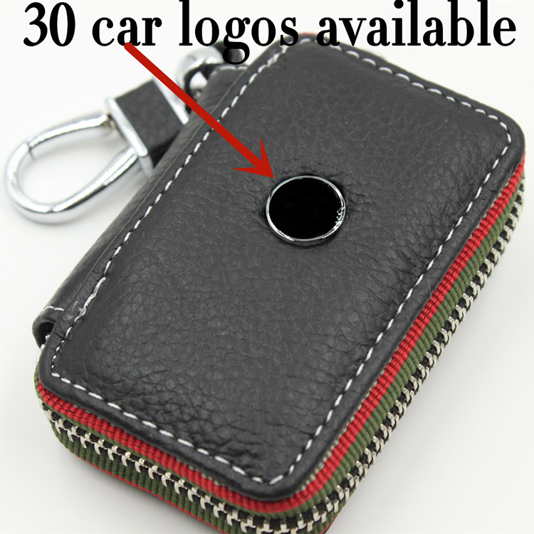 Black Color Leather Car Emblem Key Wallet Case Holder For OPEL PEUGEOT MAZDA MINI COOPER CITROEN NISSAN SUBARU Auto Logo CNYOWO