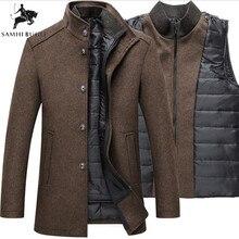 Зимнее теплое шерстяное пальто мужские толстые пальто Верхняя одежда мужские однобортные пальто и куртки с Регулируемый жилет Мужское пальто