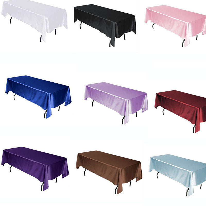 10PCS/Lot Multi Colors Rectangular Satin Tablecloth White/Black Table Cloth For Wedding Christmas Decoration