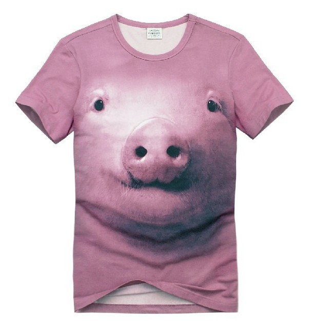 2013 Lovely Pink Pig 3D T-shirt Summer Creative Personality Short-sleeved Animals Face Printing Tide Men's Tee,Free Shipping