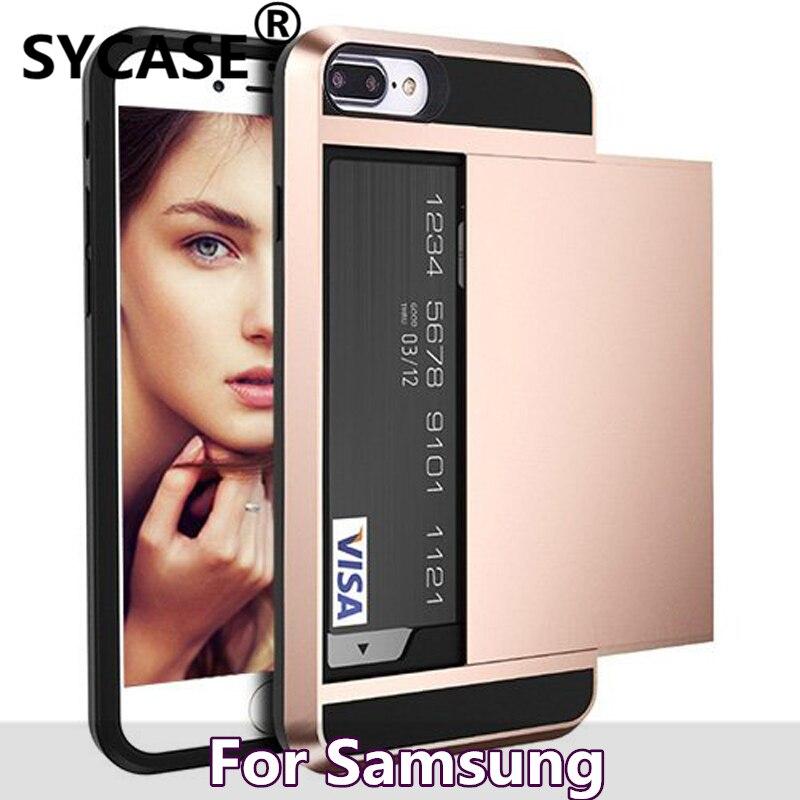 SYCASE Hybrid Case Slide Card Holder Hard Armor case For Samsung Note5 4 3 J5 J7 prime A5 A 7 2015 2016 soft sillcon frame cases