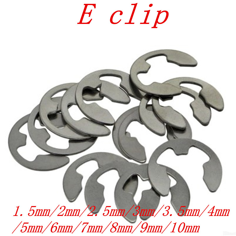 100pcs 1.5mm 2mm 2.5mm 3mm 3.5mm 4mm 5mm 6mm 7mm 8mm 9mm 10mm Stainless Steel E Clip Circlip retaining ring for shaft fastener image
