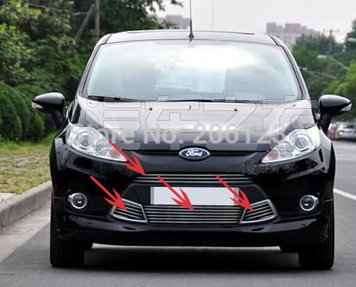High quality stainless steel Front Grille Around Trim Racing Grills Trim For 2009-2012 Fiesta sports 5dr