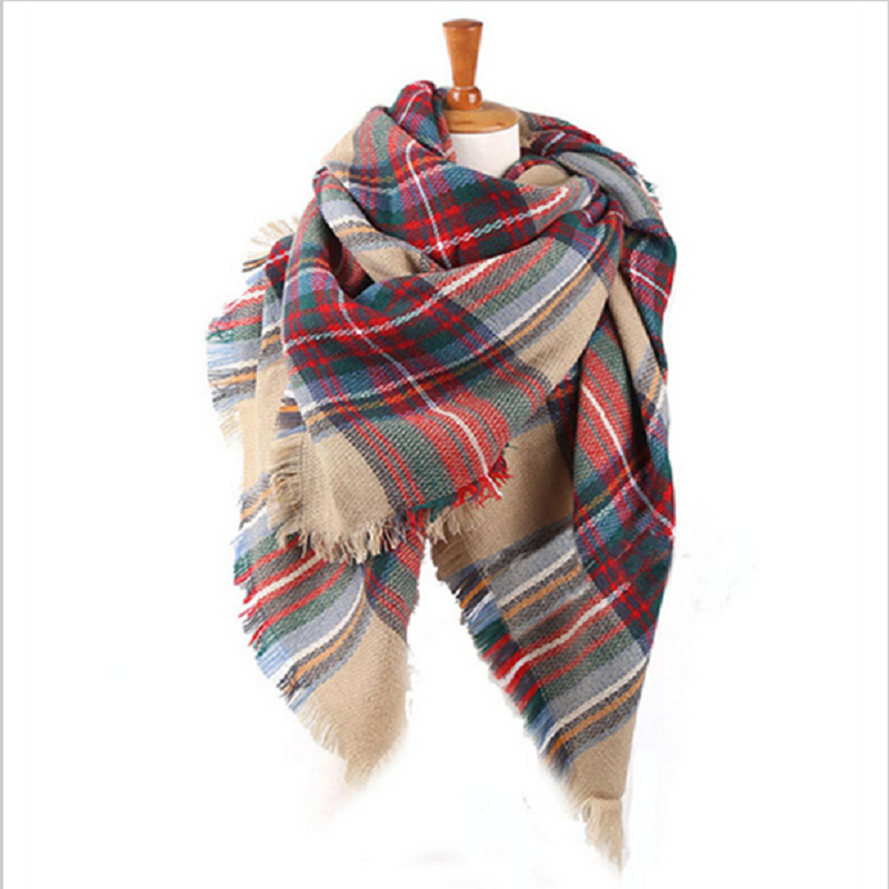 2fa2ceccf The new European and American big street shooting thick plaid cashmere  scarf shawl big oversized towel,women scarf--JOLINA SHOP