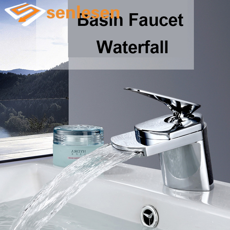 Wholesale And Retail Free Shipping Chrome Brass Big Waterfall Bathroom Basin Faucet Single Handle Hole Sink Mixer Tap free shipping wholesale and retail chrome brass waterfall bathroom sink faucet single handle hole deck mounted sink faucet