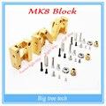 Impressora 3D Makerbot MK8 extrusora bloco de alumínio kit DIY único bico de extrusão de alumínio bloco de Três estilo para a seleção