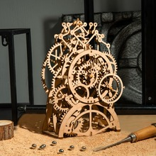 Robotime DIY 3D 나무 기계 퍼즐 모델 빌딩 키트 아이들을위한 시계 장난감 선물 완구로 레이저 절단 액션 LG/LK/AM