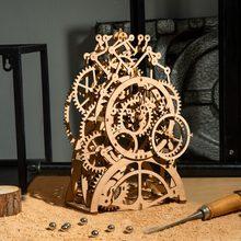 Robotime DIY 3D ahşap mekanik bulmaca modeli yapı kitleri lazer kesim eylem tarafından saat hediye oyuncaklar çocuklar için LG/LK/AM