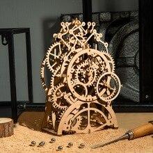 Robotime DIY 3D עץ מכאני פאזל דגם בניין ערכות לייזר חיתוך פעולה על ידי שעון מתנת צעצועים לילדים LG/LK/AM
