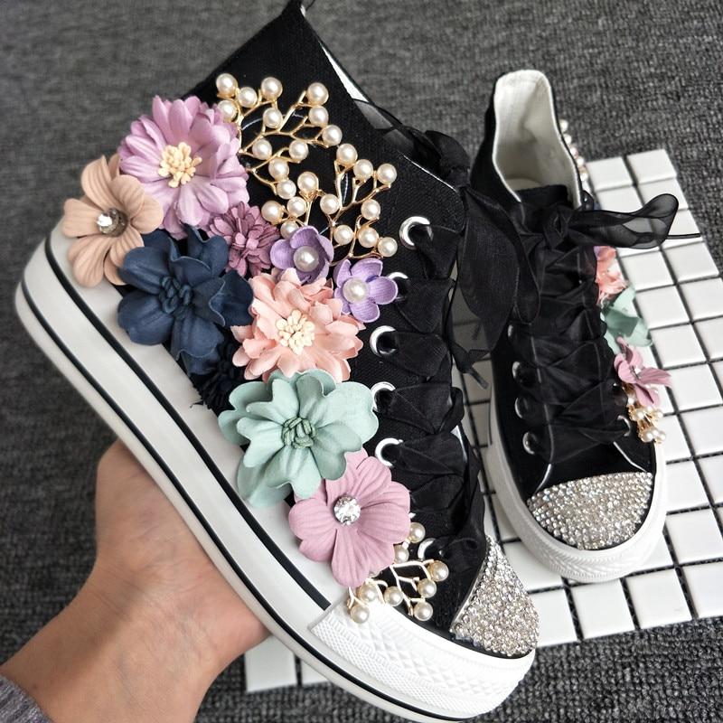 Couleur blanc Haute Avec Chaussures Noir Autrichienne Toile Personnalisé Automne Chaussures Sept 2018 up Fantasy Perle Fleurs Dentelle Casual Strass wU0qaS