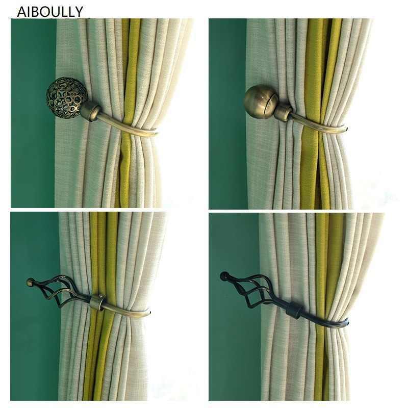 2pcs set curtain tieback holder hooks tie backs bedroom living curtain decoration accessories holdback metal curtain hooks