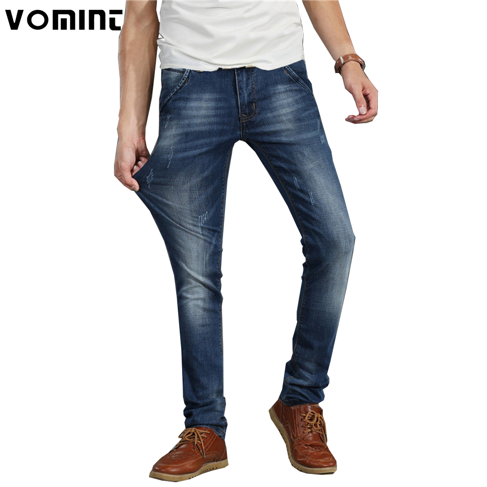2017 Brand New Men Casual Jeans Stretch Elastic ity Cotton Skinny Slim Denim Pants Men's Washed Pocket Leather Details V7S1J011