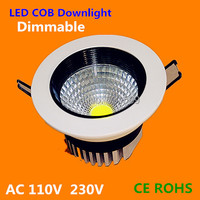 Dimmable 3W/5W/7w/9w/12w COB LED downlight Recessed LED Ceiling light Spot Light LampsforLiving Room Kitchen 50pcs