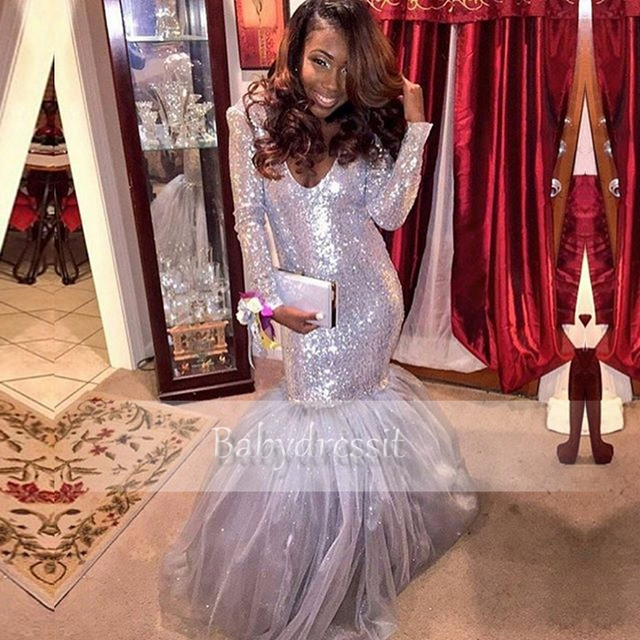 d1246c8d9139 Sexy Deep V neck Sparkly Long Sleeve Silver African Prom Dress Sequin Tulle  Floor Length Long Mermaid Prom Dresses for Queen