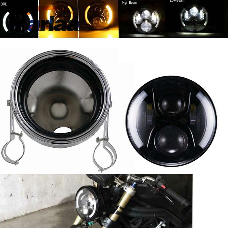 Marlaa 7 H4 Motorcycle Accessories Headlight 7 inch Led Headlamp Housing Bracket For Harley Chopper Cafe Racer Bobber Curisers