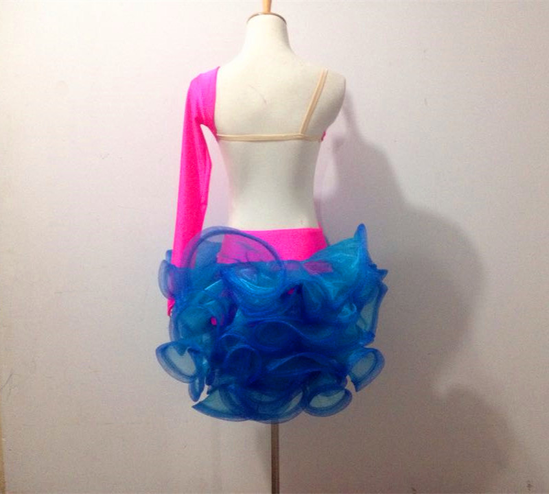 Picture of Customize Girls Hit Color Flower Latin Dance Competition Dress Tailor Woman Professional Rumba\/Samba Dance Performance Costume