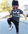 2016 комплект одежды лета мальчиков полосатые футболки + брюки детские мальчики девочки одежда детская одежда детей спортивные костюмы 2 шт. набор