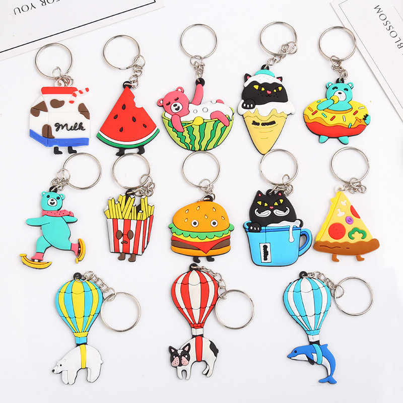 1 Pcs น่ารักการ์ตูน PVC Key Chain Dolphin สุนัข French Fries Burger Key แหวนของเล่นเด็กจี้ Keychains Key Holder ของขวัญปาร์ตี้