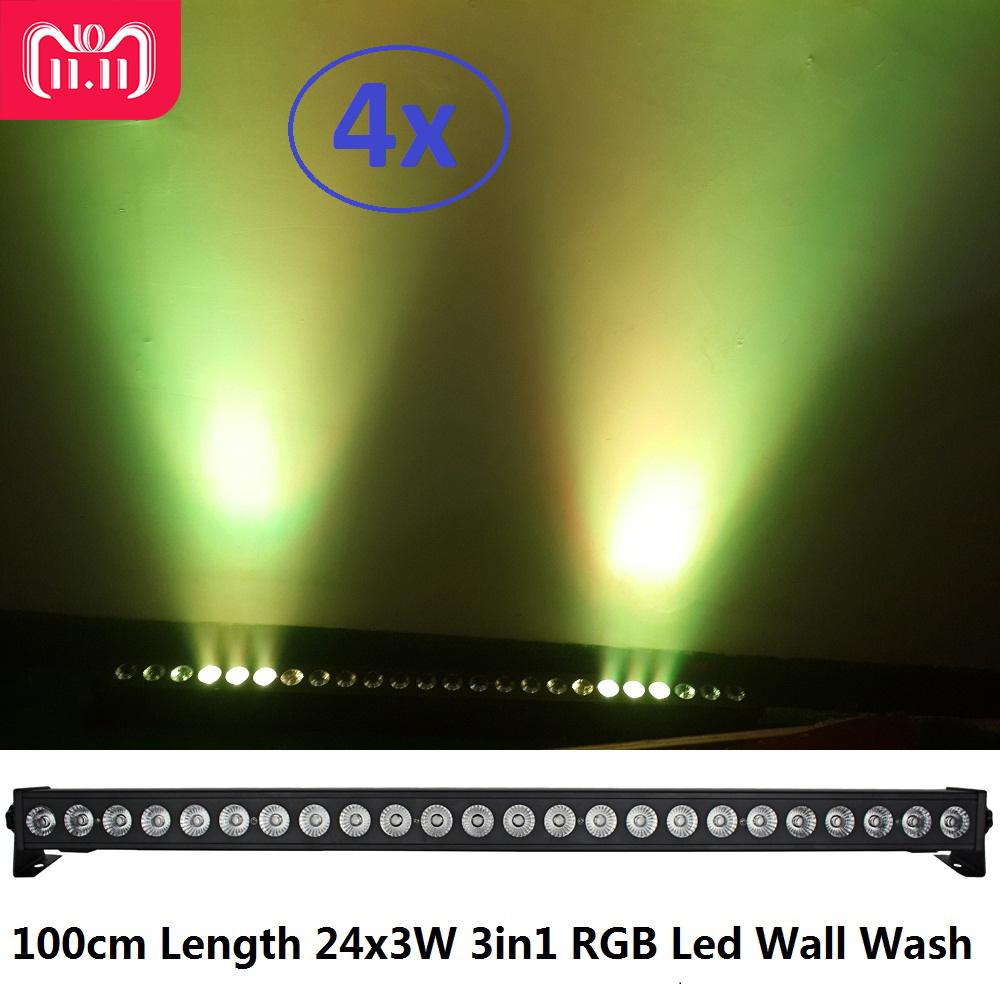 цена на 4xLot NEW 24x3W RGB 3IN1 DMX LED Wall Wash Light LED Washer Landscape Lights DMX512 Indoor LED Flood Down Lighting for DJ Club