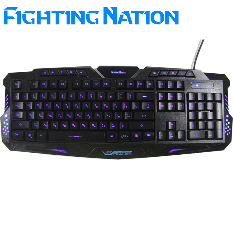 Russian version letter Layout LED 3-Color Switch breathing backlit backlight keyboard USB Wired Gaming gamer PC/Laptop Computer