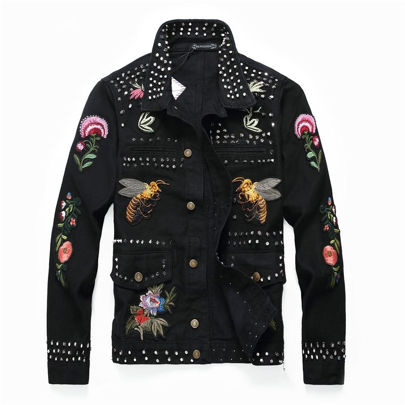 Américain Jean Rivet Luxe De Denim Marque 666 Hommes Veste Motif Black En Mode Badge Noir Style Européen Mince Nouvelle OXZwBP