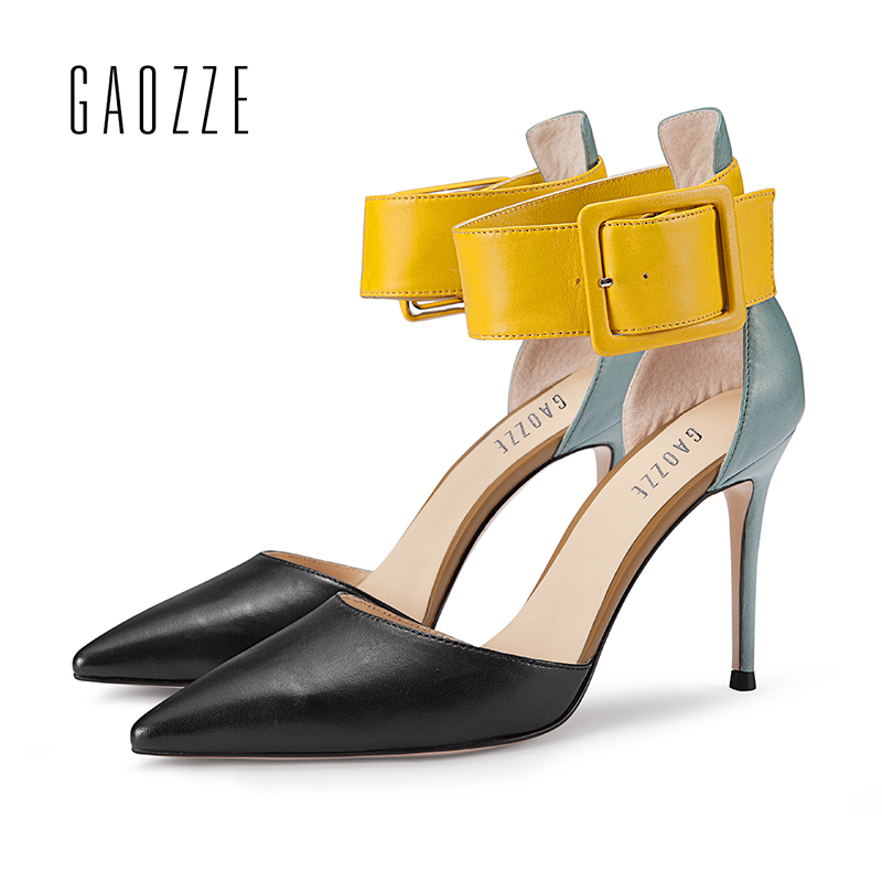 GAOZZE Sexy Thin High Heels Women Leather Fashion Pointed Toe Buckle Strap Cover Heel Women Mixed Color Office Sandals Pumps New