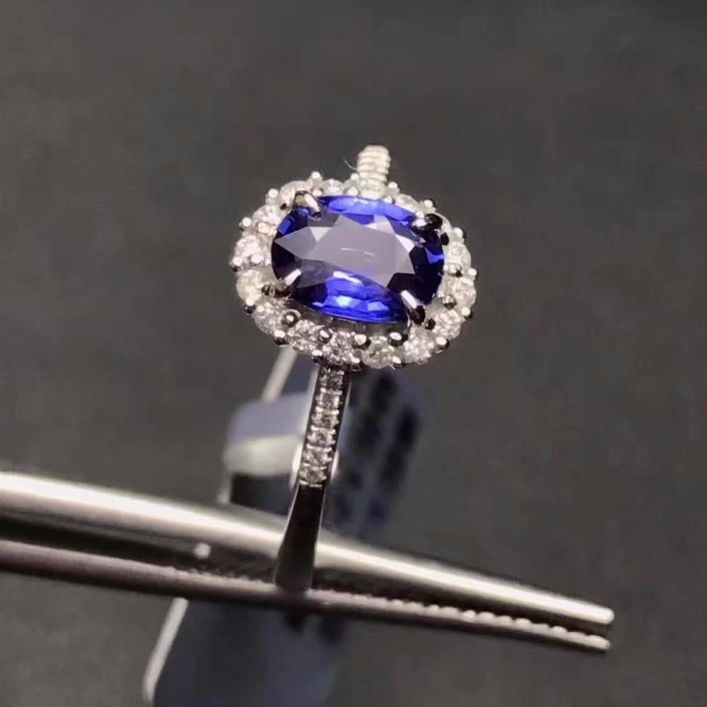b8e40a88e8e1 Vintage anillo de compromiso para mujer genuino Topacio Azul anillo real  925 joyería sólida de la plata esterlina para la señora