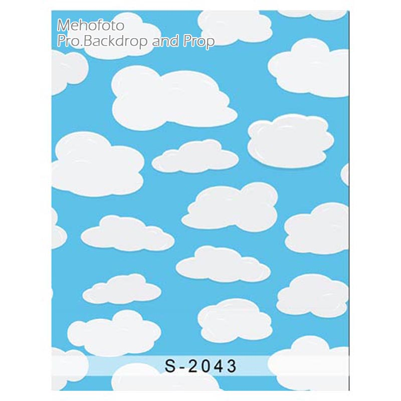 Vinyl Photography blue wall white clouds Children backgrounds Computer Printed Newborn Photography Backgrounds for Photo studio