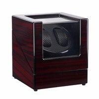나무 옻칠 피아노 광택 블랙 탄소 섬유 더블 시계 와인 더 상자 조용한 모터 스토리지 디스플레이 케이스 미국 플러그 시계 셰이 커|시계 박스|   -