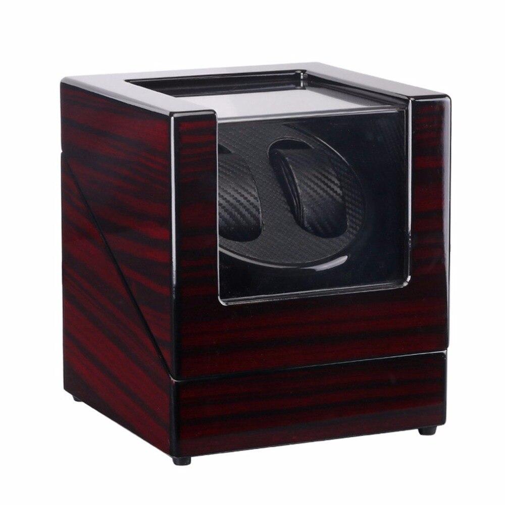 Laque en bois Piano brillant noir Fiber de carbone Double montre enrouleur boîte silencieux moteur stockage vitrine US PLUG montre Shaker