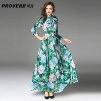 PROVERB Boho Women 's Fall Runway Hydrangea Green Leaves Flower Print Draped Dress O-neck Long Sleeve Maxi Dress with Belt