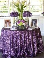 Оптовая продажа 10pcs120 круглый фиолетовый блесток Скатерти для свадебного стола льняной блестками Таблица крышка для Свадебные украшения