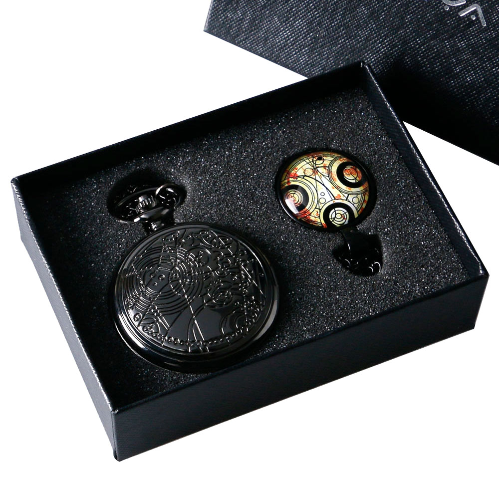 Men Women Boy Girl Gift Doctor Who Necklace Black Dr.Who Quartz Pocket Watch Pendant with Box